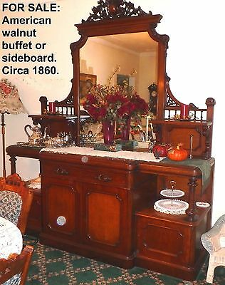 Sideboard Buffet Server - American walnut c. 1860's holds 2 full sets of dishes