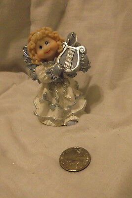 """White, Blue and Silver Tone Angel with Lyre/Harp About 3 1/2"""" Tall"""