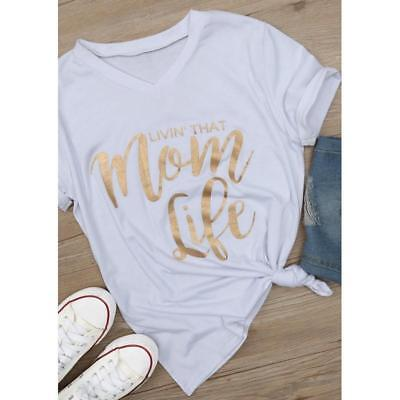 Womens Stretch Fitted V Neck Mom Life Short Sleeve Top Letter Print T-Shirt LG