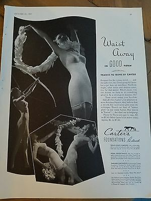 1937 women's one piece girdle Carter's foundations vintage fashion ad