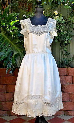Fabulous Edwardian Wedding Antique Silk w/ Brussels Lace Dress