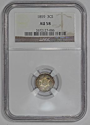 1859 Silver 3 Cent 3CS NGC AU58 Colorful Toning!