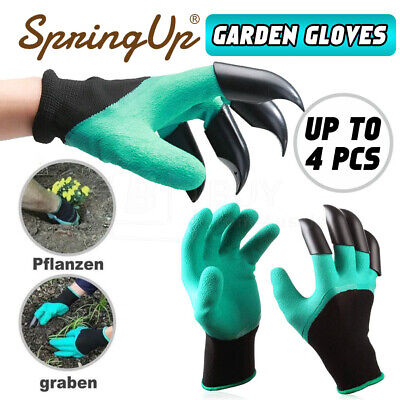 4 Pairs Garden Genie Gloves with Right Hand Sturdy Claws Digging Planting