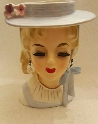 Extremely rare 1950's Velco headvase with pearl earrings hat & eyelash. 3748