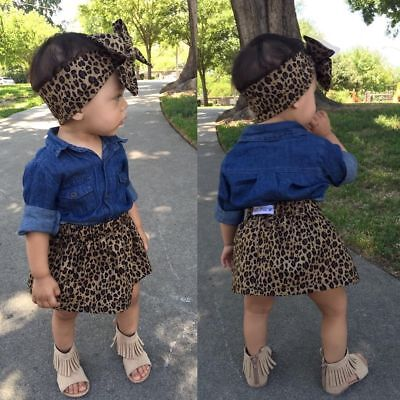 USA Baby Girls Denim Shirt +Leopard Skirt Dress Kids Clothes Outfits 4-5Y YY03