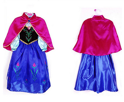 For Frozen Anna Princess Cosplay Costume Party Fancy Dress with Cape Girls Gift