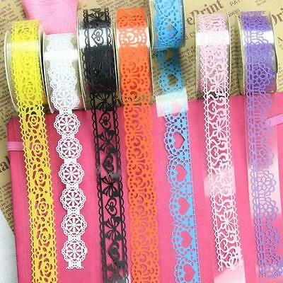 5PCS Popular DIY Lace Decor Self Adhesive Masking Washi Tape Sticky Sticker