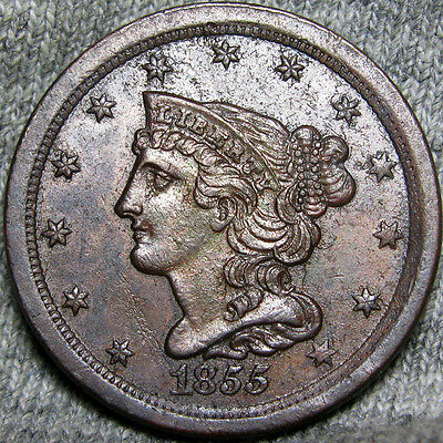 1855 Braided Hair Half Cent Type Penny L@@K  #E584