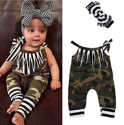 USA Camouflage Newborn Baby Girls Clothes Romper Bodysuit Outfits Jumpsuit Set