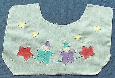3 Baby Bib Collar Embroidered with Clowns Stars Large Doll Bib Collar White #488