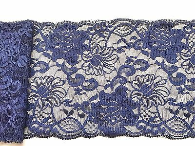 """~Navy Blue Wide Delicate Lace 6.5""""/16.5cm Craft Table Runner"""