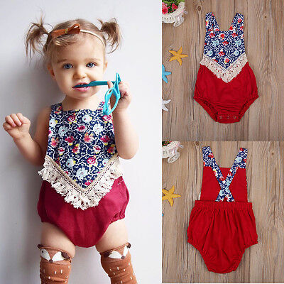 USA Newborn Infant Baby Girls Floral Romper Bodysuit Jumpsuit Clothes Outfits
