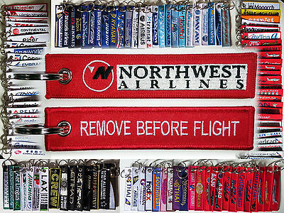 Keyring NORTHWEST AIRLINES Remove Before Flight tag keychain