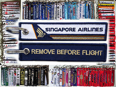 Keyring SINGAPORE AIRLINES -BLUE- Remove Before Flight tag keychain
