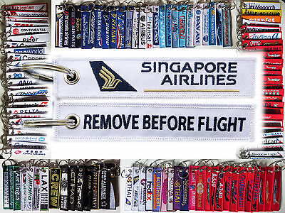 Keyring SINGAPORE AIRLINES -WHITE- Remove Before Flight tag keychain