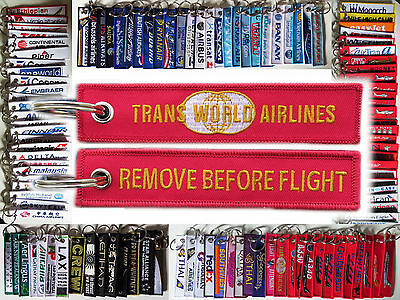 Keyring TWA TRANS WORLD AIRLINES Remove Before Flight tag keychain