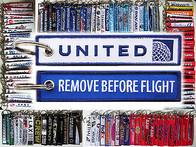 Keyring UNITED AIRLINES -BLUE- Remove Before Flight tag keychain