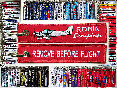 Keyring ROBIN DR400 aircraft Remove Before Flight tag keychain red