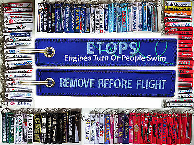Keyring ETOPS *Engine Turns or People Swim* keychain fun tag for pilots + mechs