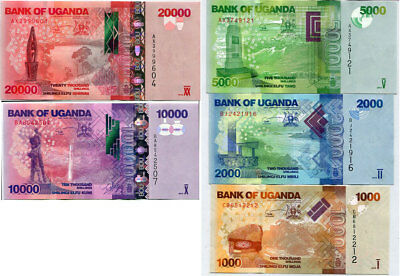Uganda Set 5 Pcs 1000 2000 5000 10,000 20,000 Shillings 2015 (2016) P 49-52 Unc