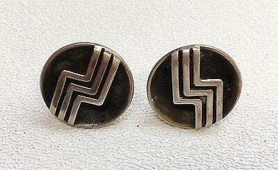 Vintage La Vista Mid Century Modern Signed Sterling Silver Earrings