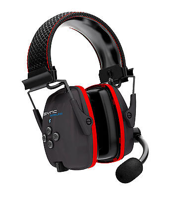 Howard Leight SYNC Wireless Earmuff with Bluetooth 4.1, Black with Red Acc