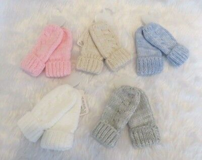 Baby Boys Girls Warm Knitted Traditional Cable Knit Winter Mittens 0-12 months
