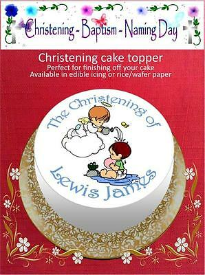Personalised Christening Cake Topper on Edible Icing or Rice Paper