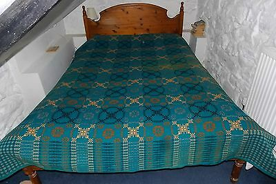 Early 20th C antique WELSH TAPESTRY BLANKET CARTHEN 100% wool geometric double