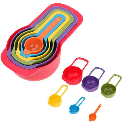 6 Pcs/set Plastic Baking Measuring Spoon Cup Rainbow Nested Mixing Bowl Tools