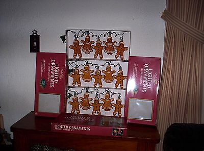 New In Box 3 SETS  Of 5  Sugared Gingerbread Country Kit Christmas String Lights