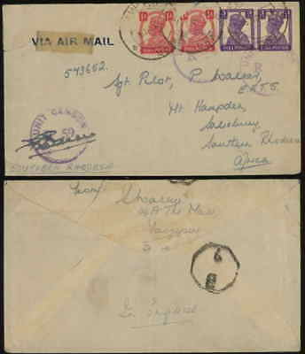 INDIA 1944 airmail censor cover to S Rhodesia