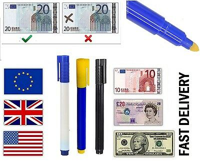 10 Counterfeit Fake Forged Money Bank Note Checker Detector Tester Marker Pens