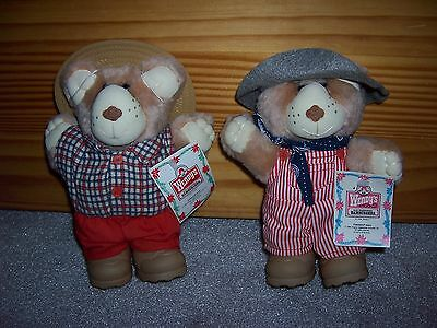 Vintage 1986 NWT Wendy's Furskin Bears Boone and Dudley Christmas Holiday