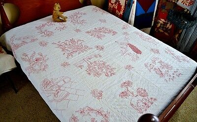 Spectacular Antique Hand Stitched Best Red Work Quilt