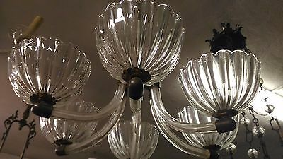 Murano Barovier & Toso Important Chandelier 6 Lights 1940 Mid Century 6 Luci