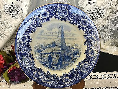 "Shenango China ""Drake Well Park"" Titusville Pa. Blue on White Decorative Plate"