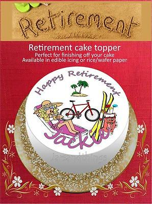 Personalised Retirement Cake Topper on Edible Icing or Rice Paper