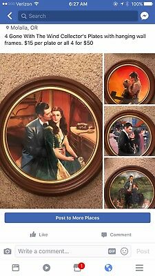 Gone With the Wind - Set of 4 GWTW Framed Collector Plates with Hanging Frames
