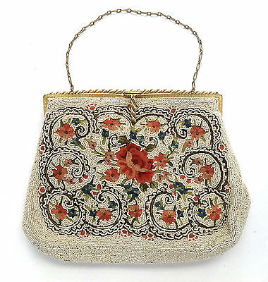 Vintage French Beaded and Tapestry Purse