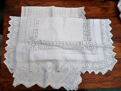 3 Items Of Lace Trimmed Linen