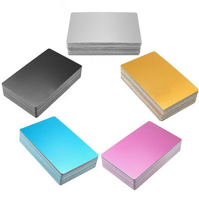Colorful Blank Metal Business Cards 100pcs Laser Mark Engraveable Material Card