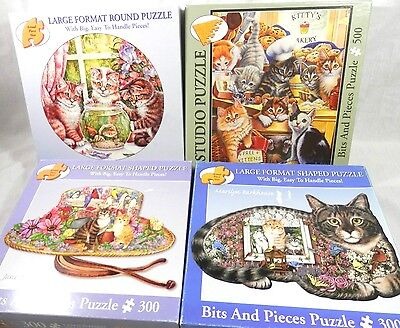 Lot of 4 Bits & And Pieces Cat Kitten Jigsaw Puzzles - 3 Shaped  ALL COMPLETE!!