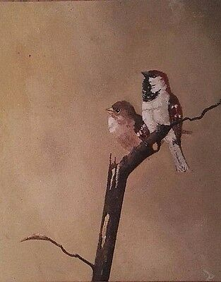 Original Acrylic Painting On Canvasboard House Sparrows S W Ward Birds Nature