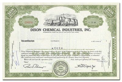 Dixon Chemical Industries, Inc. Stock Certificate (Paulsboro, New Jersey)