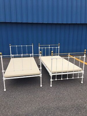 Antique Twin Iron and Brass Bed Frame