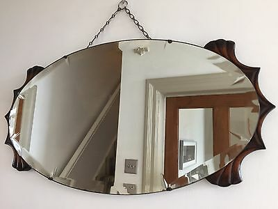 ART DECO Vintage Bevelled Frameless OVAL Wall MIRROR 30s 40s CHAIN Large 74X39cm