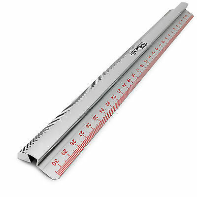Westcott 12 Inch / 30 cm - Aluminium Ruler with Raised Grip Bar
