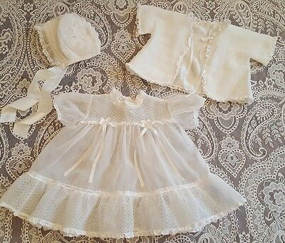 3 Piece Vintage Gown Jacket Cap Sheer Baby Doll Dress Clothes Christening White