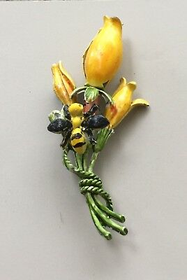 Unique Vintage Bee and flowers brooch .